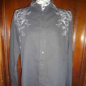 Avirex black striped embroidered button shirt Med